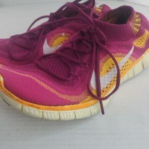 Womens Nike Free Flyknit+ Raspberry/White/Fireberr